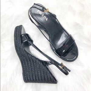Prada Patient Leather Espadrille Wedges Sandals
